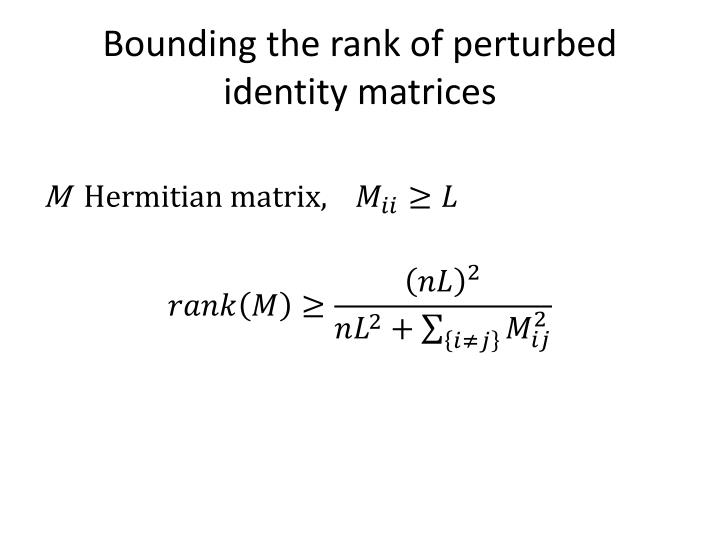 Bounding the rank of perturbed identity matrices