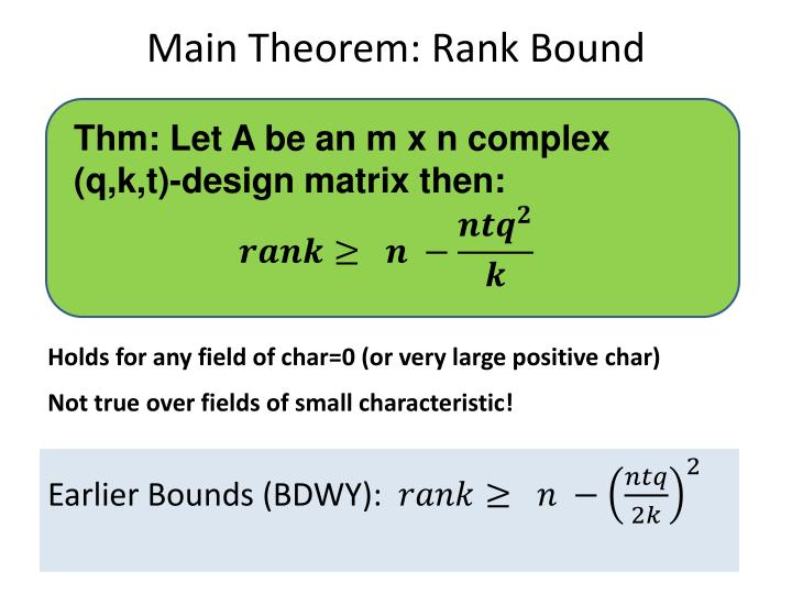 Main Theorem: Rank Bound