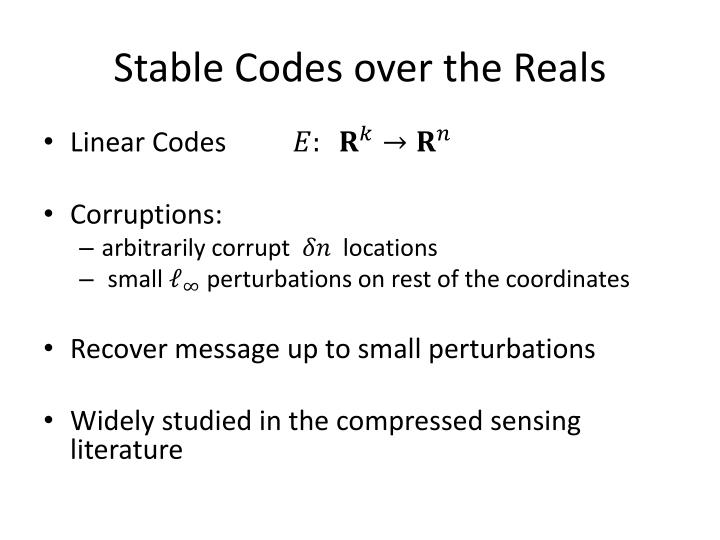 Stable Codes over the