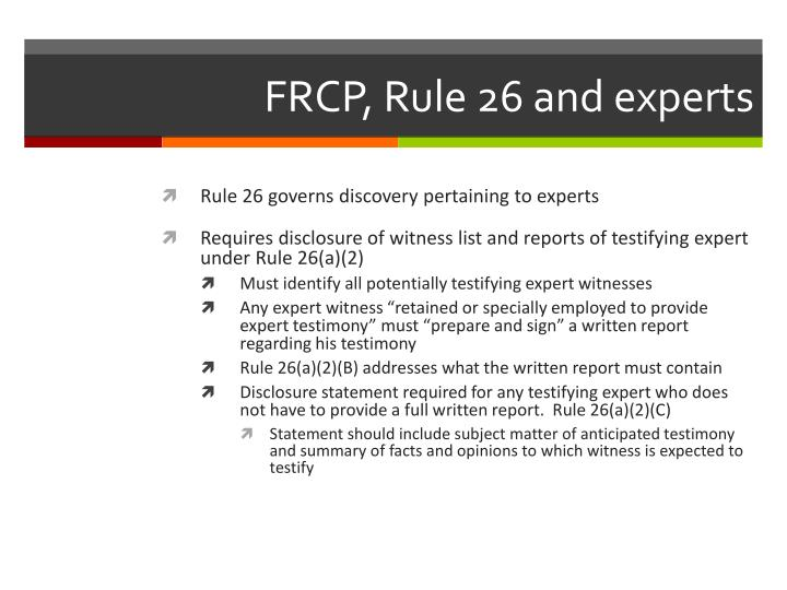 Frcp rule 26 and experts
