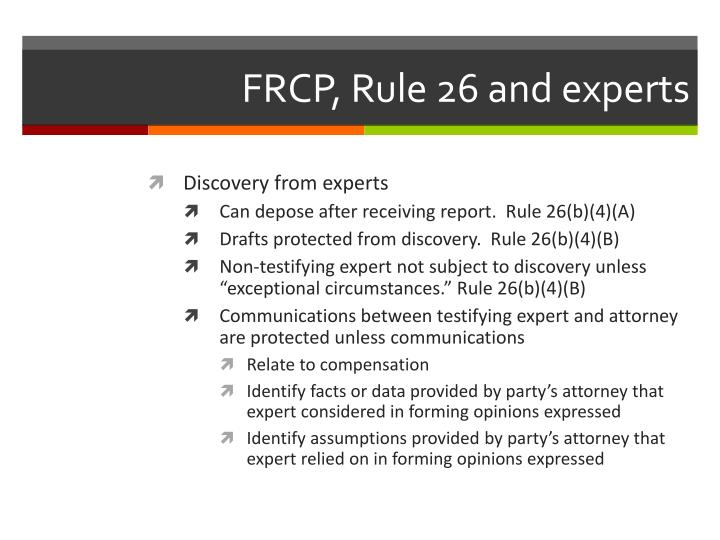FRCP, Rule 26 and experts