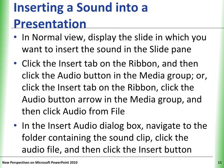Inserting a Sound into a Presentation