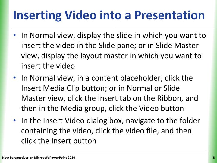 Inserting Video into a Presentation