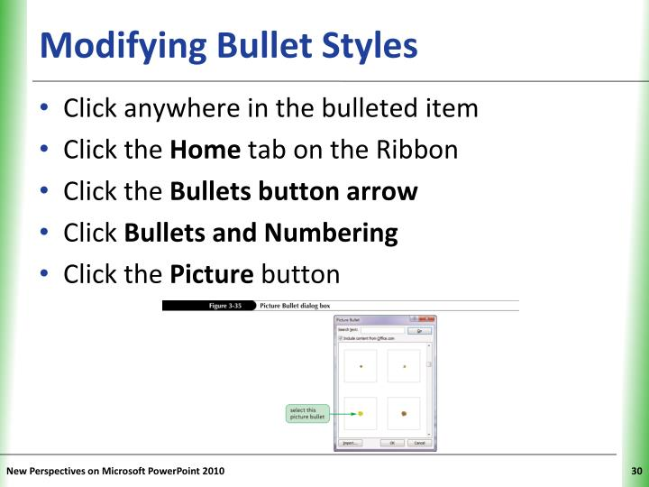 Modifying Bullet Styles