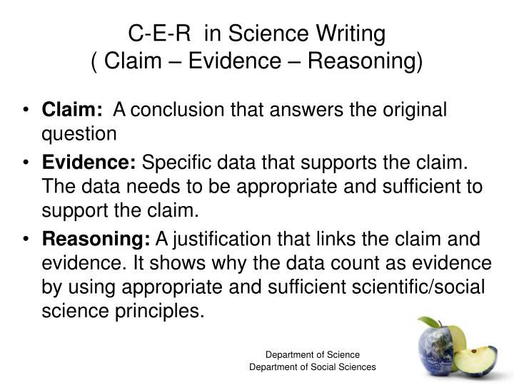 C-E-R  in Science Writing