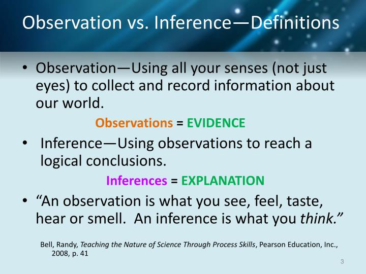 Observation vs. Inference—Definitions