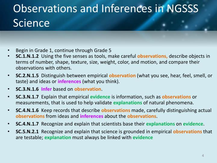 Observations and Inferences in NGSSS