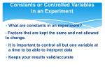 constants or controlled variables in an experiment