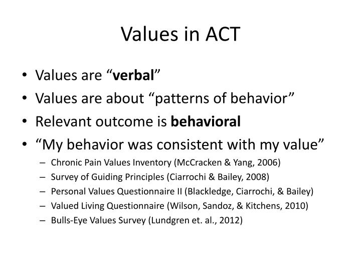 Values in ACT