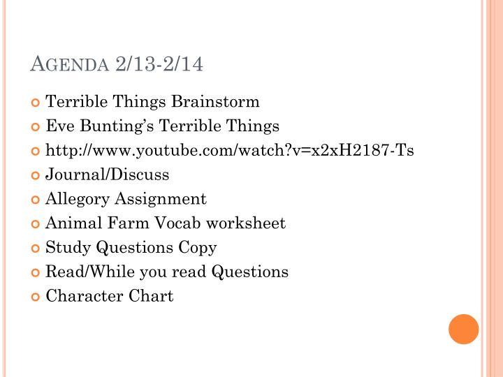 Agenda 2/13-2/14