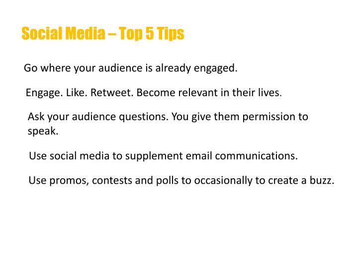 Social Media – Top 5 Tips