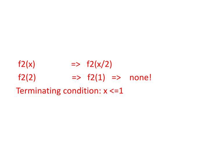 f2(x)                 =>   f2(x/2)