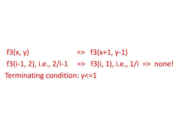 f3(x, y)                          =>   f3(x+1, y-1)