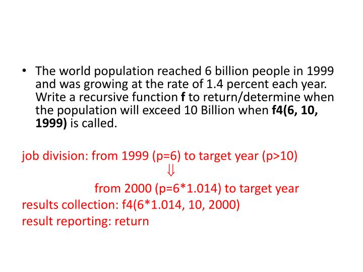 The world population reached 6 billion people in 1999 and was growing at the rate of