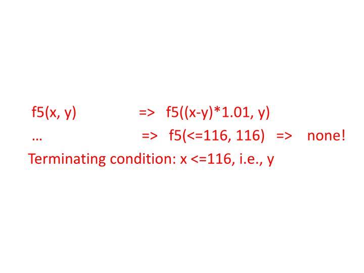 f5(x, y)                 =>   f5((x-y)*1.01, y)
