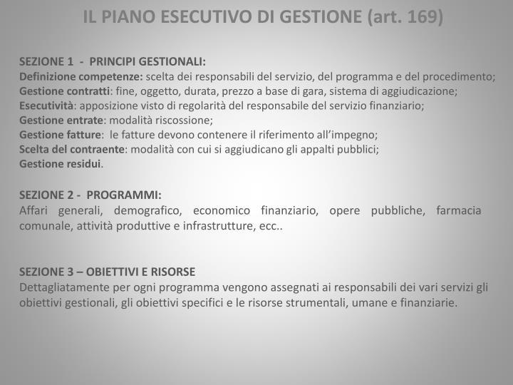 SEZIONE 1  -  PRINCIPI GESTIONALI: