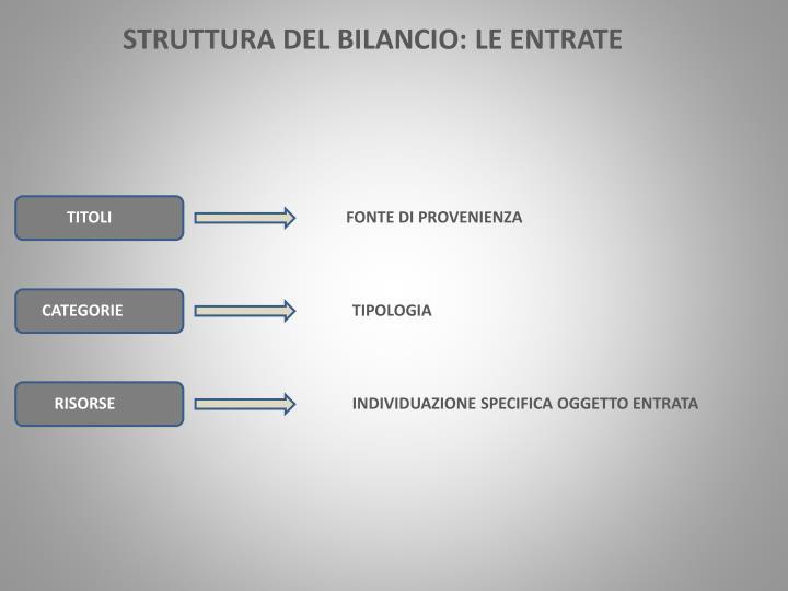 STRUTTURA DEL BILANCIO: LE ENTRATE