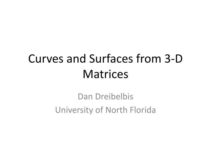 curves and surfaces from 3 d matrices