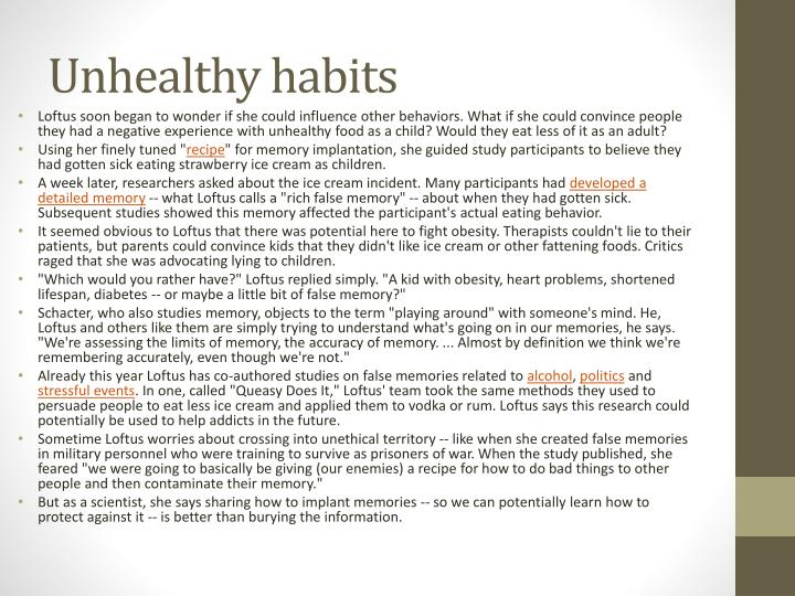 Unhealthy habits