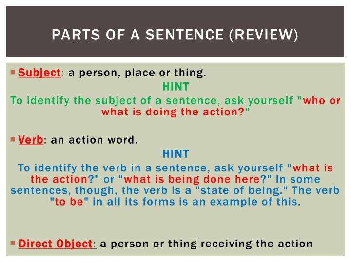 Parts of a sentence (Review)