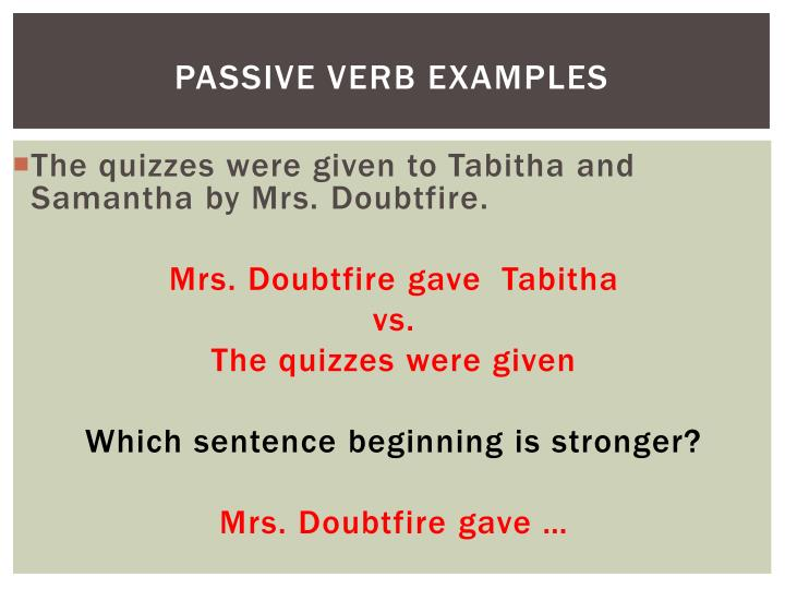Passive verb examples
