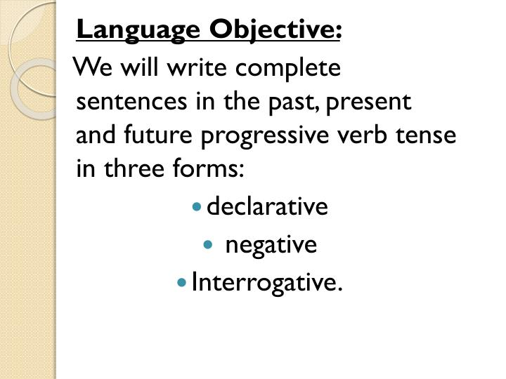 Language Objective:
