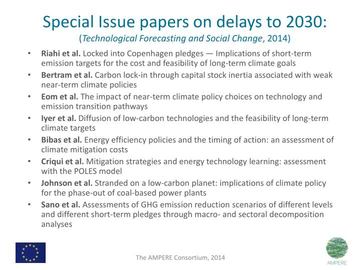Special Issue papers on delays to 2030: