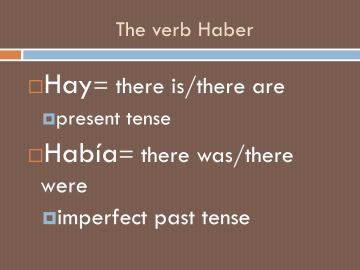 The verb Haber
