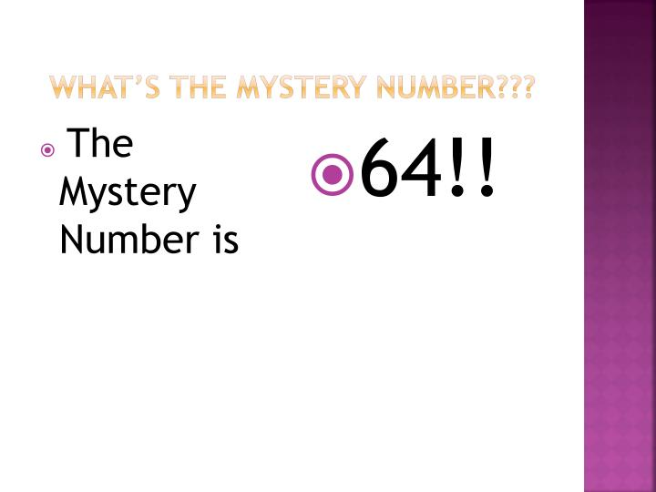 What's The Mystery number???