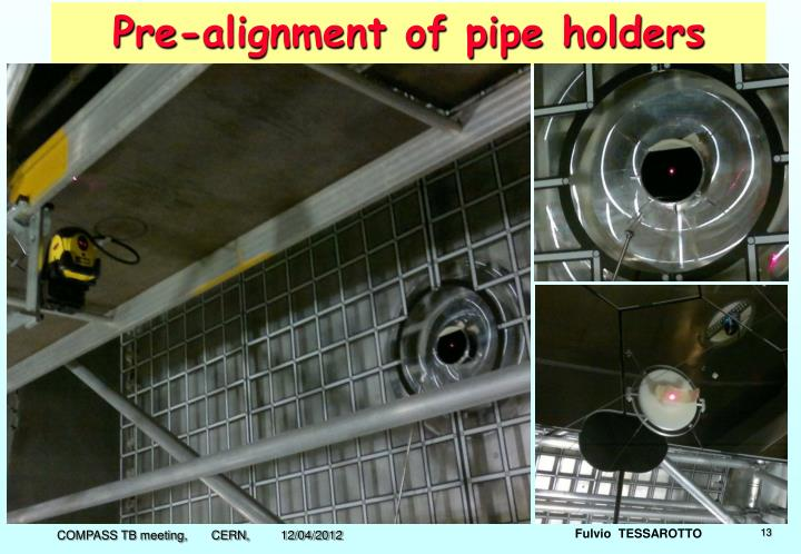 Pre-alignment of pipe holders