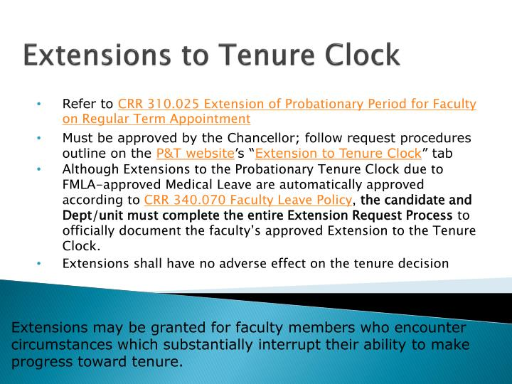 Extensions to Tenure Clock