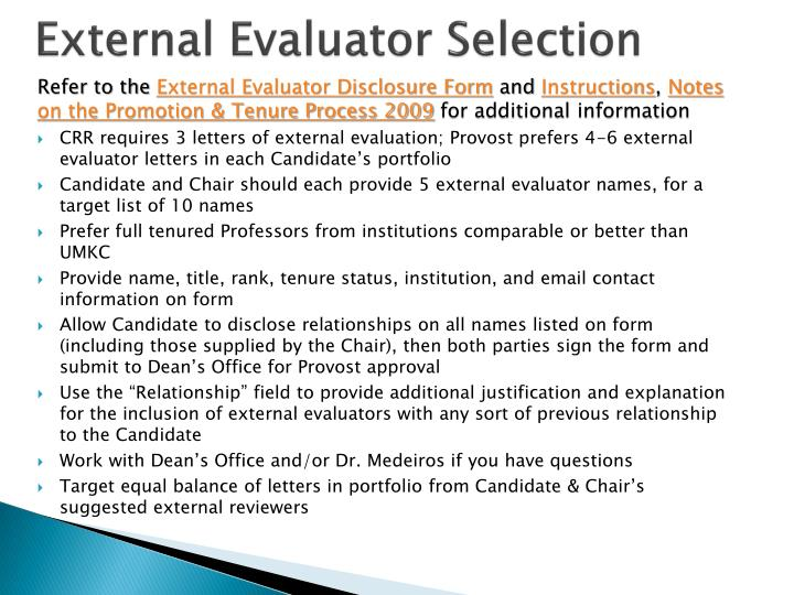 External Evaluator Selection