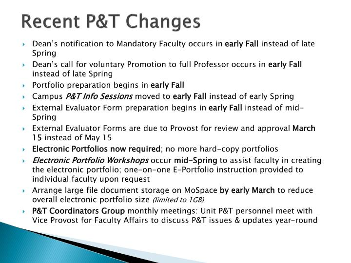Recent P&T Changes