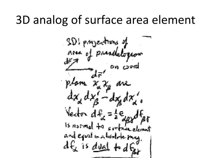 3D analog of surface area element