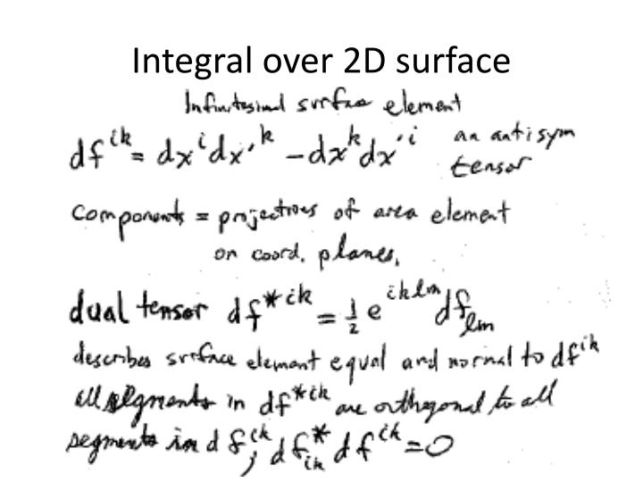 Integral over 2D surface