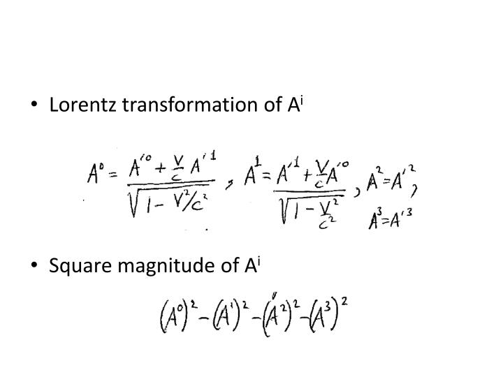 Lorentz transformation of A