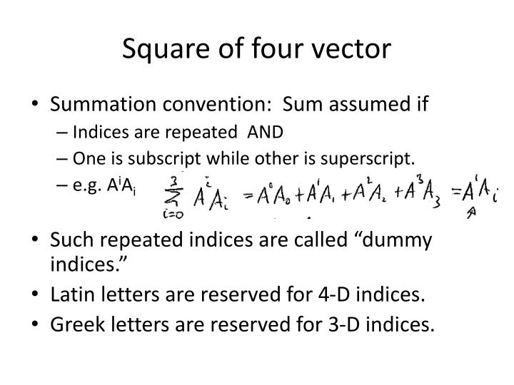 Square of four vector