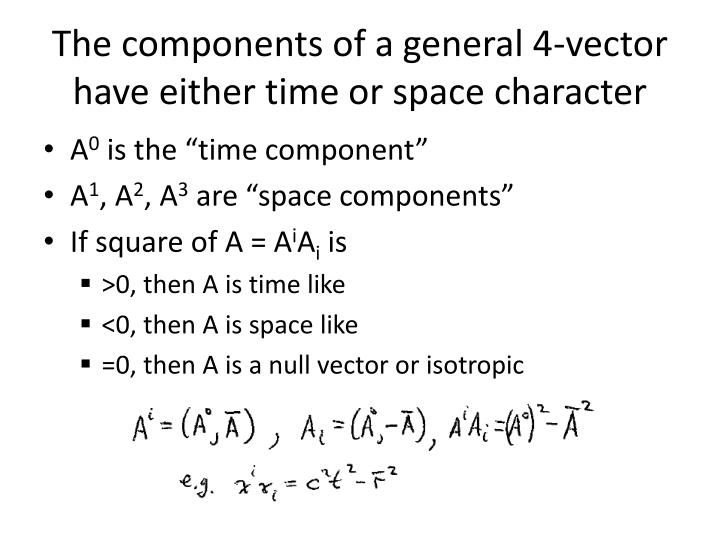 The components of a general 4-vector have either time or space character