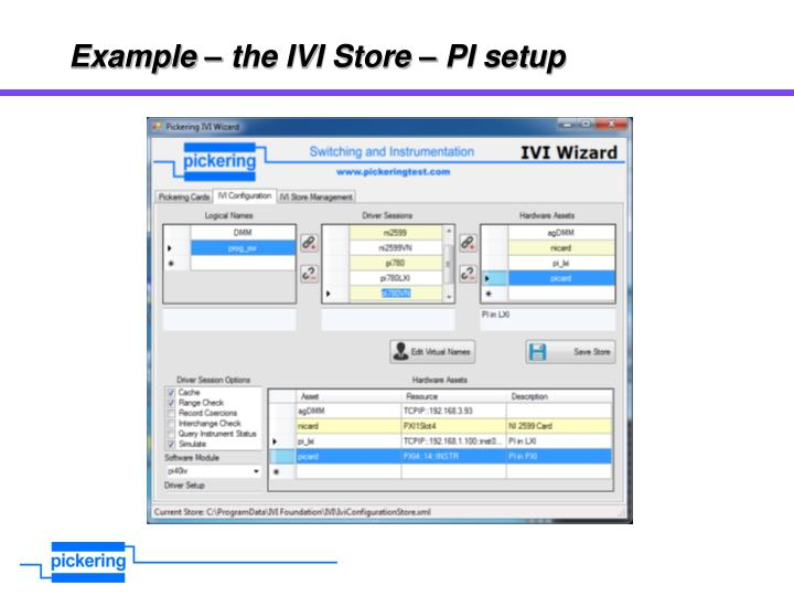 Example – the IVI Store – PI setup