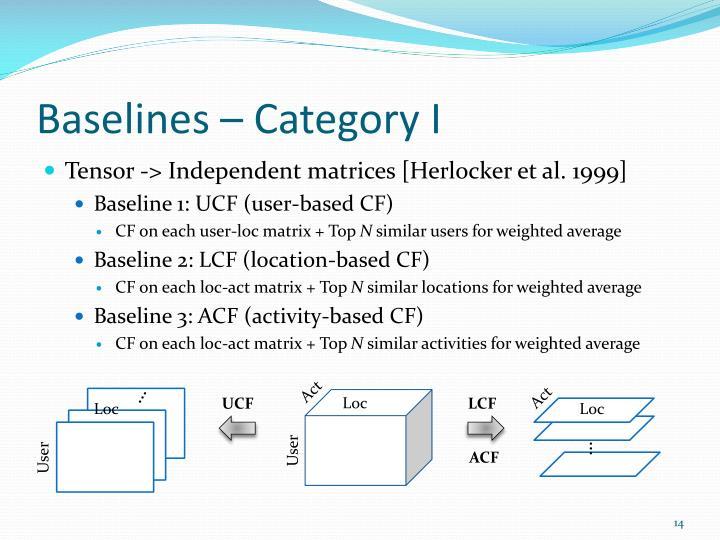 Baselines – Category I