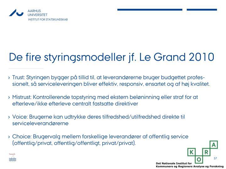 De fire styringsmodeller jf. Le Grand 2010