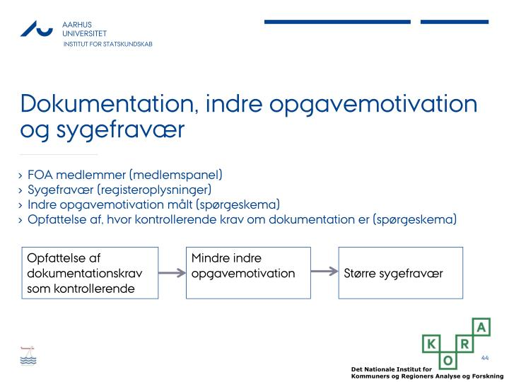 Dokumentation, indre opgavemotivation og sygefravær