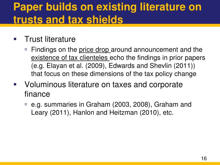 Paper builds on existing literature on trusts and tax shields