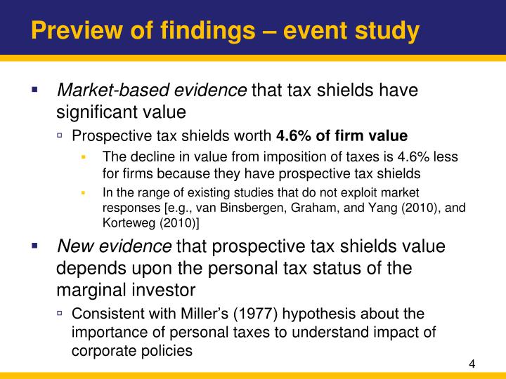 Preview of findings – event study