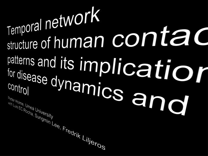 Temporal network structure of human contact patterns and its implication for disease dynamics and control