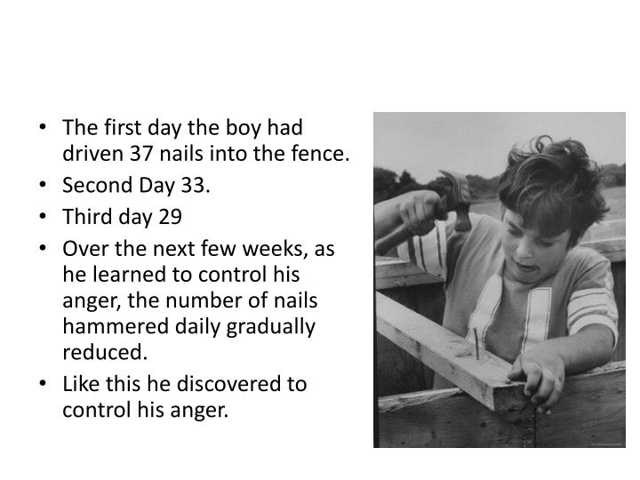 The first day the boy had driven 37 nails into the fence.