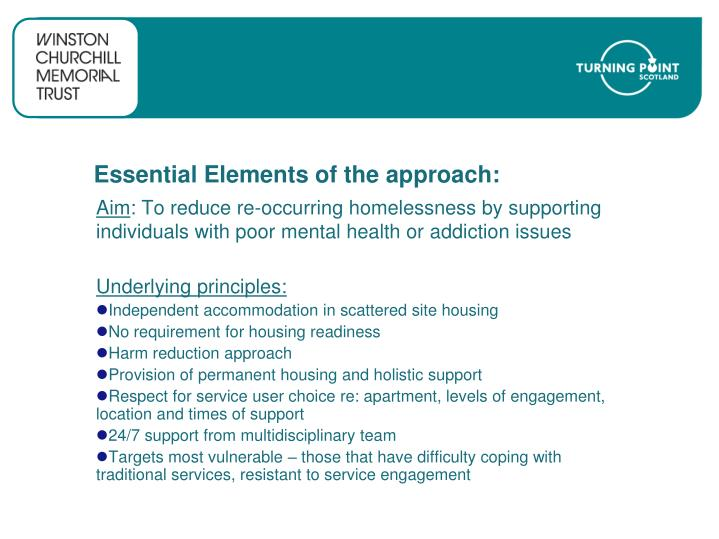 Essential elements of the approach