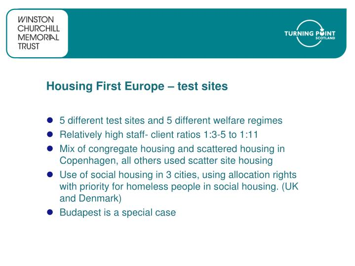 Housing First Europe – test sites