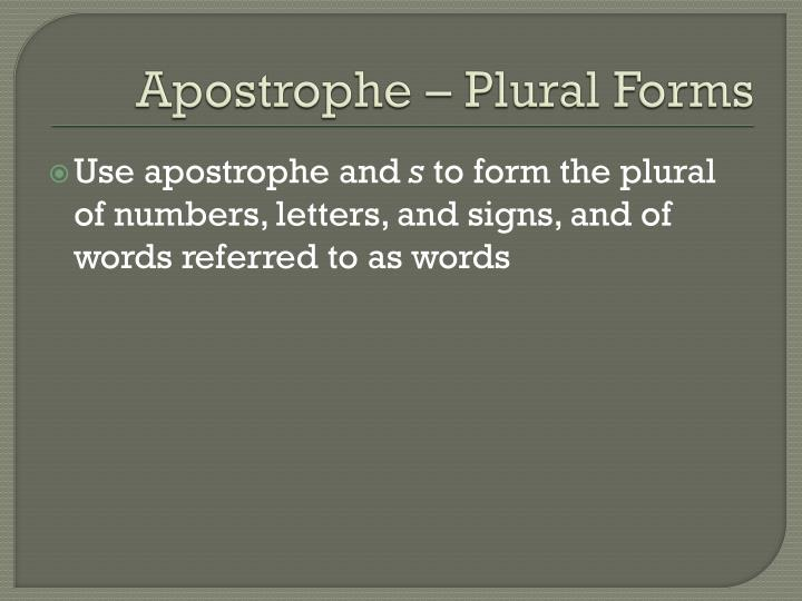 Apostrophe – Plural Forms