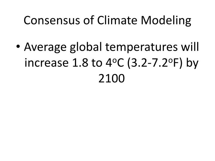 Consensus of Climate Modeling